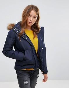 Дутая куртка с меховой подкладкой на капюшоне Lee - Синий