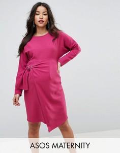 Платье миди с рукавами летучая мышь и запахом на юбке ASOS Maternity - Фиолетовый