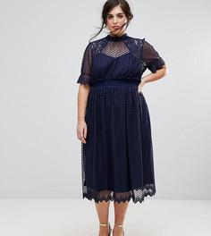 Плиссированное платье миди с высоким воротом TFNC Plus - Темно-синий