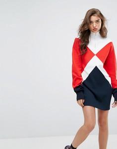 Трикотажное платье с высокой горловиной Gigi Hadid Argyle - Мульти Tommy Hilfiger
