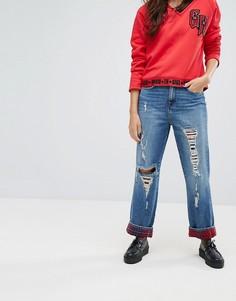 Укороченные джинсы прямого кроя с завышенной талией и отделкой в клетку тартан Gigi Hadid - Синий Tommy Hilfiger