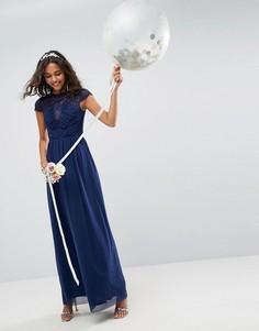 Платье макси с кружевной вставкой ASOS WEDDING - Темно-синий
