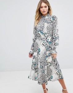 Платье миди с принтом и высоким воротом Boohoo - Мульти