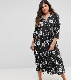 Платье-рубашка с ажурной вставкой Club L Plus - Мульти