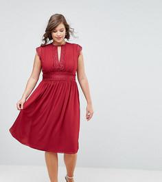 Платье миди с кружевной отделкой TFNC Plus WEDDING - Красный