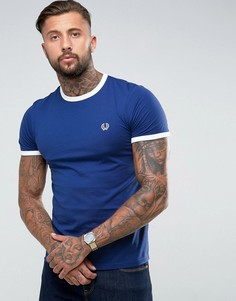 Синяя футболка узкого кроя Fred Perry Sports Authentic Ringer - Темно-синий