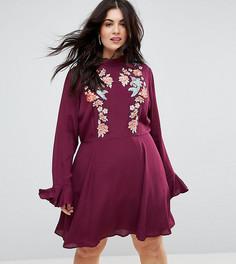 Платье мини с вышивкой и оборками на рукавах ASOS CURVE - Красный