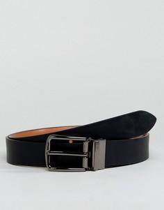Двухсторонний кожаный ремень скинни Smith And Canova - Черный