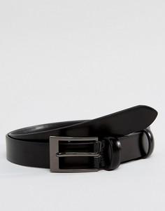 Черный кожаный блестящий ремень скинни Smith And Canova - Черный