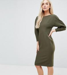 Платье-футляр миди в стиле 80-х ASOS PETITE - Зеленый