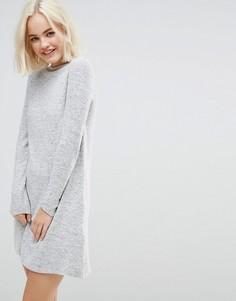Трикотажное платье с высоким вырезом Only Daho - Серый