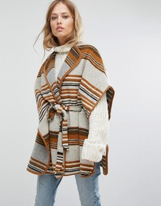 Пальто в полоску с запахом и поясом Suncoo - Коричневый