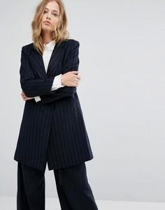 Пальто в полоску Suncoo - Темно-синий