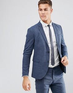 Облегающий пиджак из твида Jack & Jones Premium - Синий