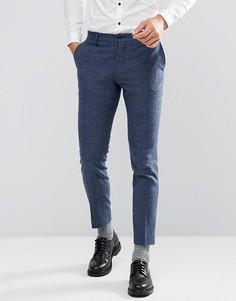 Облегающие брюки из твида в елочку Jack & Jones - Синий