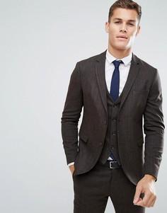 Облегающий пиджак из твида Jack & Jones Premium - Коричневый