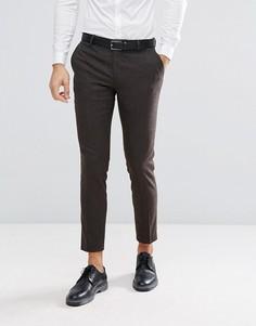 Облегающие брюки из твида в елочку Jack & Jones - Коричневый
