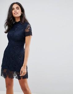 Ажурное платье мини AX Paris - Темно-синий