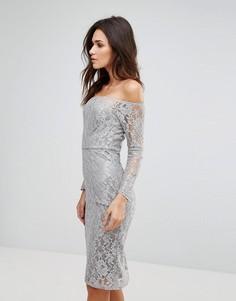 Кружевное платье миди с широким вырезом AX Paris - Серый