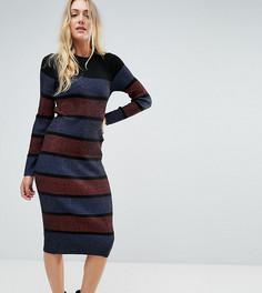 Вязаное платье миди в полоску ASOS TALL - Мульти