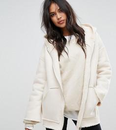 Куртка с капюшоном и подкладкой из искусственного меха Missguided - Бежевый
