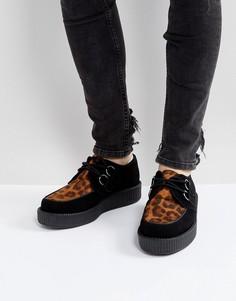 Замшевые туфли на платформе с анималистичным принтом T.U.K - Черный TUK
