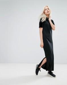 Бархатное платье макси adidas Originals - Черный
