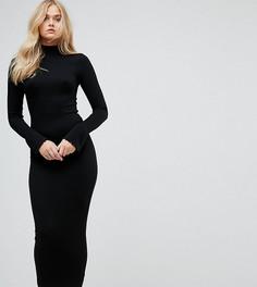 Облегающее платье макси в рубчик с воротником-поло и оборками на рукавах ASOS TALL City - Черный