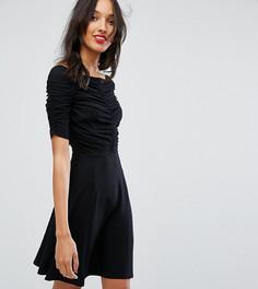 Чайное платье мини со сборками ASOS TALL - Черный