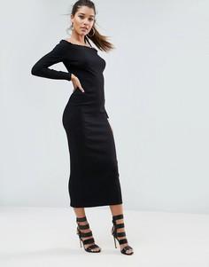 Платье в рубчик с открытыми плечами ASOS - Черный