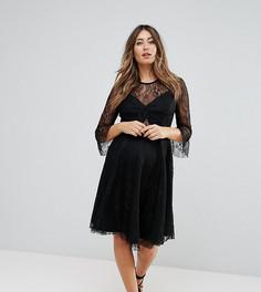Кружевное короткое приталенное платье для выпускного Queen Bee - Черный