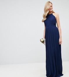 Плиссированное платье макси с высоким воротом TFNC Tall WEDDING - Темно-синий