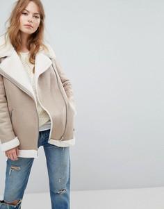 Куртка из искусственной замши на меховой подкладке New Look - Бежевый
