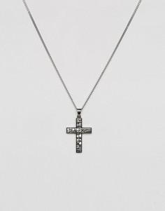 Серебристое ожерелье с крестом Seven London - Серебряный