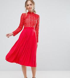 Кружевное плиссированное платье миди Little Mistress Premium - Красный