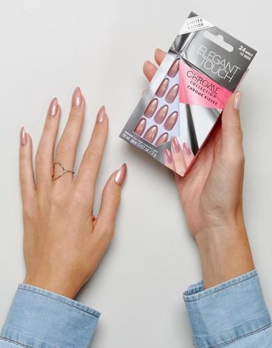 Накладные ногти-стилеты Elegant Touch - Chrome Kisses - Розовый