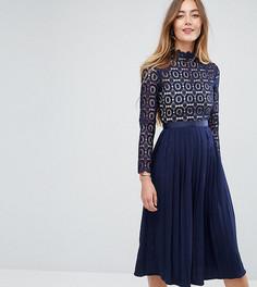 Платье миди с кружевным лифом и плиссированной юбкой Little Mistress Tall - Темно-синий