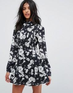Короткое приталенное платье с длинными рукавами и цветочным принтом Unique 21 - Синий