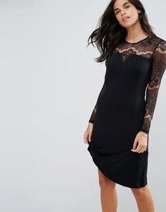 Платье с длинными кружевными рукавами Y.A.S Ciccu - Черный