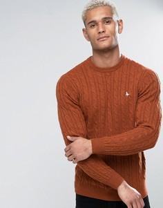 Джемпер из мериносовой шерсти рыжего цвета с узором в косичку и круглым вырезом Jack Wills Marlow - Красный