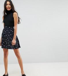 Короткая расклешенная юбка с карманами и звездным принтом эксклюзивно для ASOS TALL - Мульти