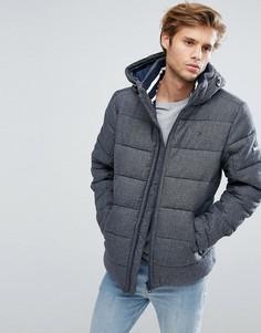 Серая фактурная дутая куртка со съемным капюшоном Tommy Hilfiger Denim - Серый