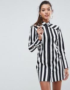 Платье-рубашка в монохромную полоску ASOS LEAH - Мульти