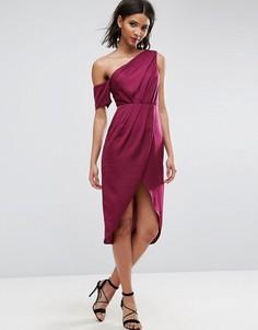 Атласное платье-футляр миди ASOS - Красный