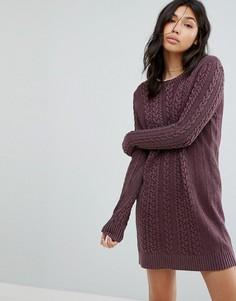 Вязаное платье джемпер с узором косичка Abercrombie & Fitch - Красный