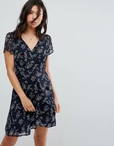 Чайное платье с запахом и разрезом Abercrombie & Fitch - Темно-синий