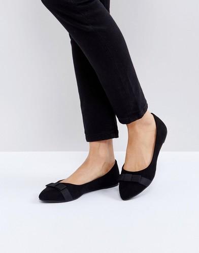 Балетки с острым носком и бантами RAID - Черный