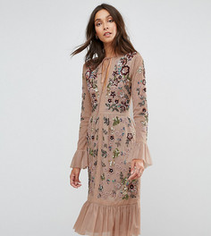 Приталенное премиум-платье с декоративной отделкой и оборками Frock And Frill Tall - Бежевый