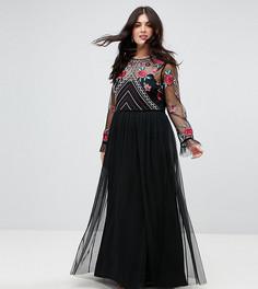 Премиум-платье макси с длинными рукавами и вышивкой Frock And Frill Plus - Черный