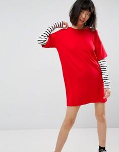 Платье-футболка с полосками на рукавах ASOS - Мульти